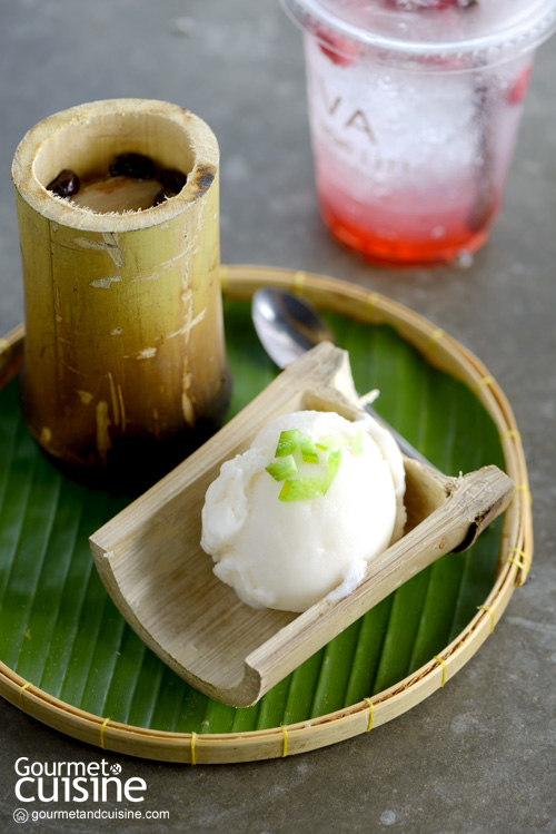 Pomelo Sorbet Ice cream served with Glutinous Rice Roasted in Bamboo Joints