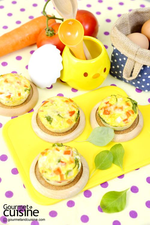 คัปเค้กไข่และผัก