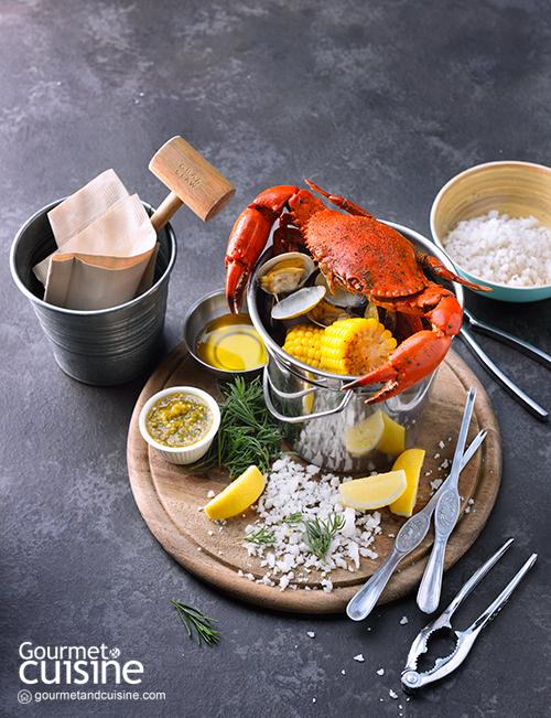 ปูต้มกับหอยและไส้กรอกโชริโซ