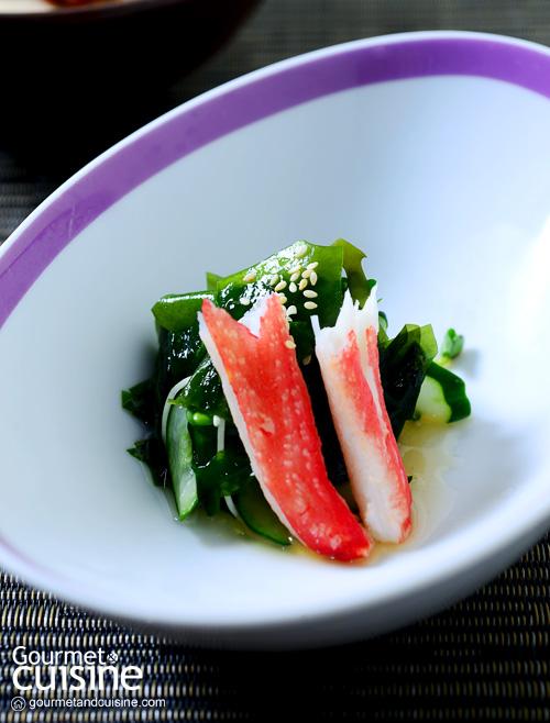 Snow crab and Naruto seaweed salad. Tosazu vinegar sauce