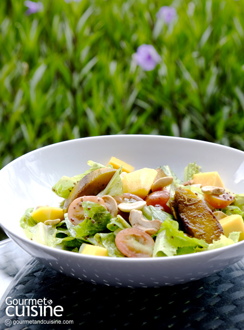 Grilled Pumpkin & Mango with Romaine, Cashew Nuts, Tomato and Honey Mustard Dressing