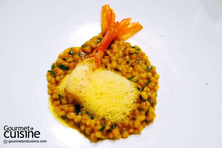 Pearl barley 'risotto', Mazara del Vallo red prawns and prawn bisque
