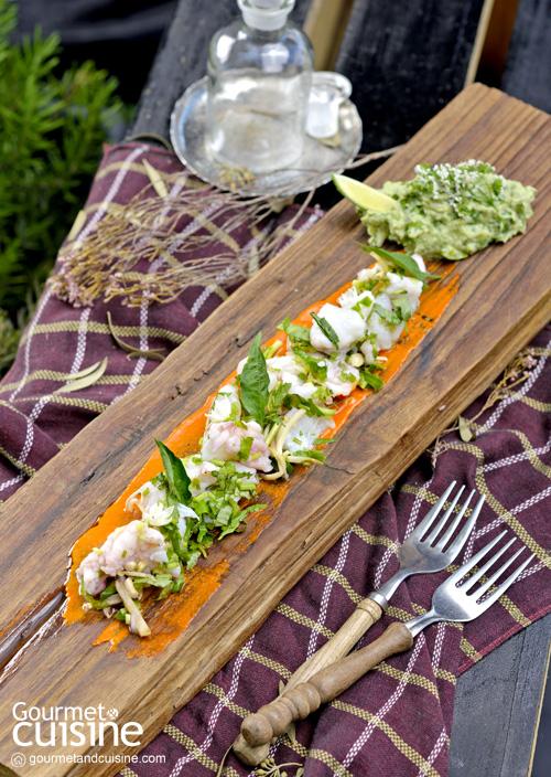 เซบีเชปลากะพงและส้มโอ