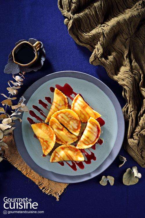 พาสตาเมซเซลูเนฟัวกราส์กับฟักทองและซอสพอร์ตไวน์
