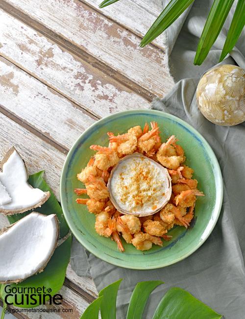 กุ้งทอดมะพร้าวกับดิปซาวร์ครีมมะพร้าว