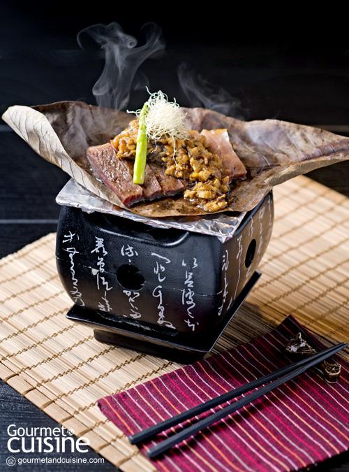 เนื้อมิยาซากิย่างกับโฮบะมิโซะ