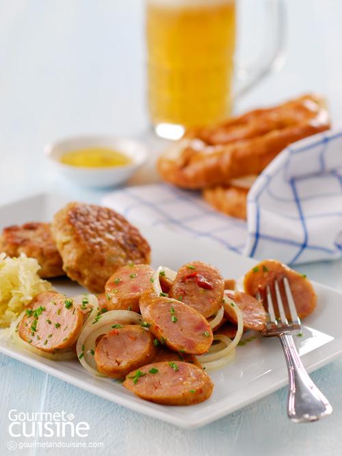 ไส้กรอกเยอรมันและเบอร์เกอร์เนื้อ (German Bratwurst)