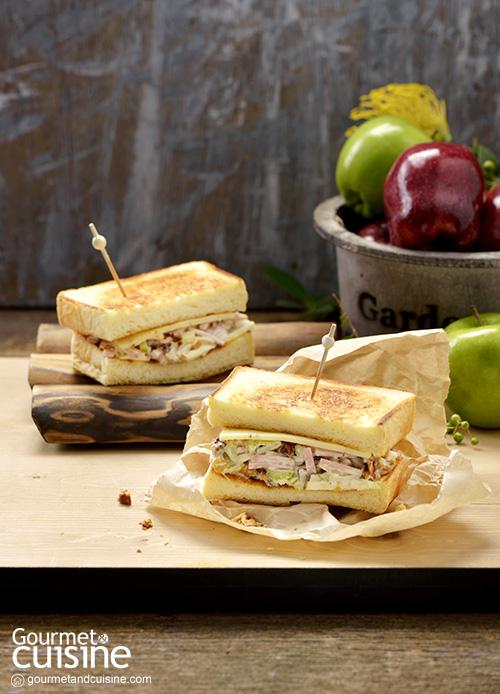 แซนด์วิชย่างไส้แฮมกับแอปเปิล