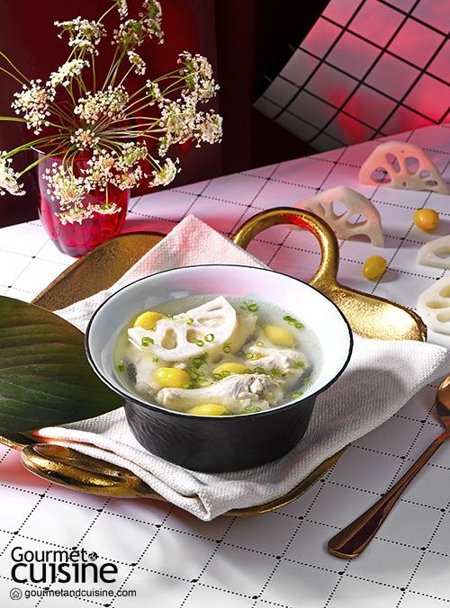 ซุปไก่รากบัวและแปะก๊วย