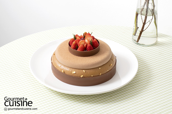 Dark Soy Sauce Chocolate Mousse Cake with Strawberry Compote