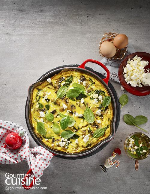 ไข่ฟริตทาทาใส่เห็ดและผักโขม