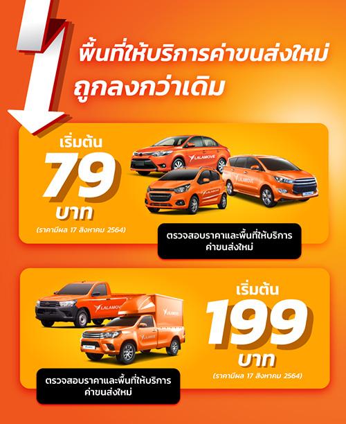 ลาลามูฟ ปรับราคาค่าบริการพื้นฐานรถใหญ่ เริ่มต้นเพียง 79 บาท หนุนกระจายสินค้าและบริการต่อเนื่อง ใน 27 เขตหลัก ครอบคลุมพื้นที่กรุงเทพฯ และปริมณฑล