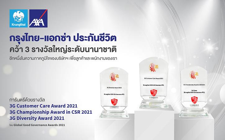 กรุงไทย–แอกซ่า ประกันชีวิต คว้า 3 รางวัลระดับนานาชาติ จาก Global Good Governance Awards 2021