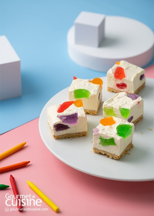 ชีสเค้กเจลลี่ผลไม้ สีสันสดใส หวานละมุนกลมกล่อม