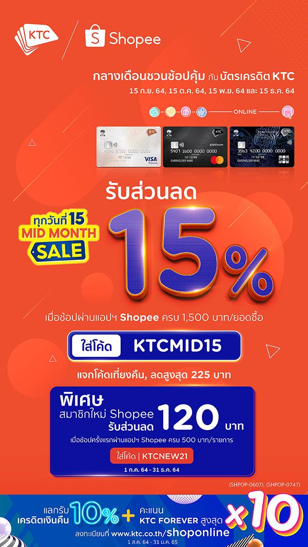 เคทีซี-ช้อปปี้จัดส่วนลดสุดปัง 15% ทุกวันที่ 15 ผ่านกิจกรรม KTC x Shopee Mid Month Sale