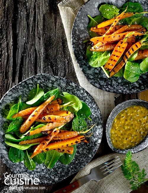 เบบี้แครอตย่างราดน้ำเสาวรส (Grilled Baby Carrot with Passion Fruit)